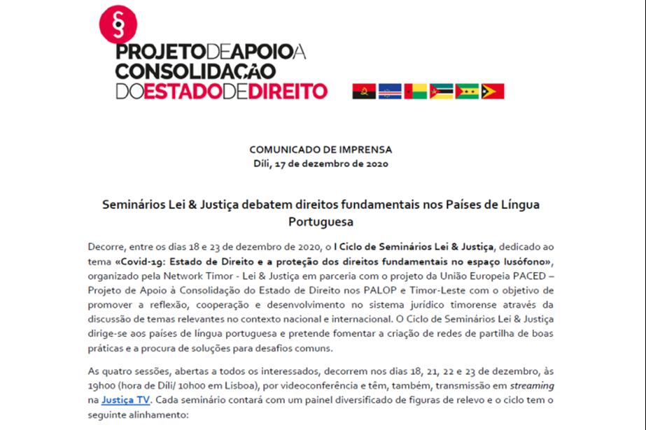 Comunicado de Imprensa: Seminários Lei & Justiça debatem direitos fundamentais nos Países de Língua Portuguesa